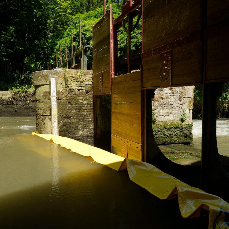 Реставрация рассева Мулен-де-Пиду 15 век | Ривьер Аа - Гибкая перемычка с Water-Gate © WA-2850