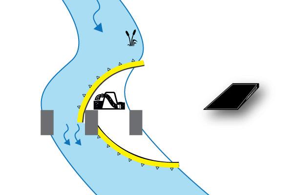 """"""" Гибкие Water-Gate © cofferdams. Схема двойной установки в L до и после с опорой на опоре моста Низкий уклон. Дело № 4бис"""""""