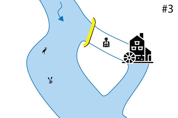 Гибкие коффердамы Water-Gate ©. Схема перпендикулярной установки на второстепенном слое. Случай № 3