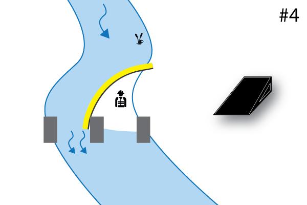 """"""" Гибкие Water-Gate © cofferdams. Схема L-образной установки, поддерживаемой опорой моста. Дело # 4"""""""