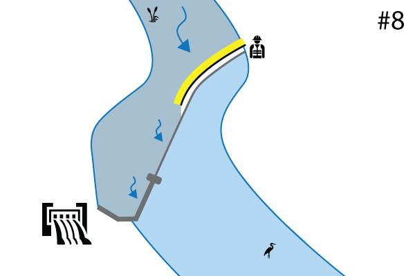 Гибкие коффердамы Water-Gate ©. Схема установки на пороге реки | Водосброс. Дело # 7