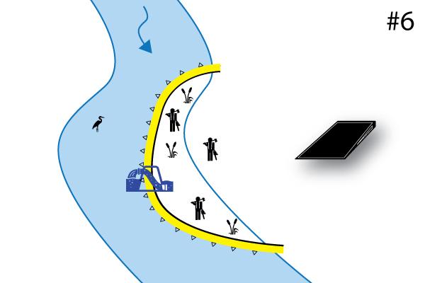 Гибкие коффердамы Water-Gate ©. Схема П-образной установки | Установка параллельно водотоку. Дело # 6